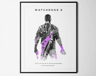 Watchdogs 2 Inspired Double Exposure Poster Print - Video Game Art