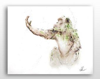 Modern Animal & Wildlife Art, Chimpanzee Painting Limited Edition Print Reproduction, Worldwide Shipping, Framing Service