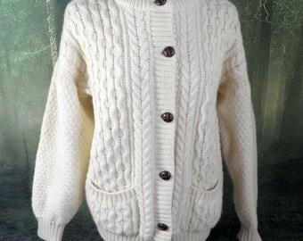 Vintage English Aran Cable Knit Wool Cardigan  Size L