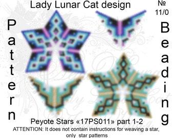 Sea ornamental patterns, Stars Peyote pattern, Summer patterns, Spring patterns, Geometric pattern,  Peyote stitch, Beading patterns