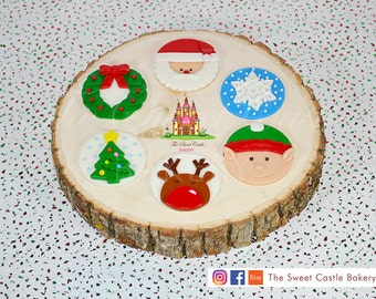 12 Christmas Fondant Cupcake/Cookie Toppers