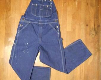 vintage key imperial aristocrat of overalls bib farmer blue grass indigo dark wash blue jean paint splattered work wear w 32