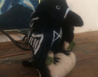 Needle Felt Odin Crow (or Raven) with Mannaz Rune