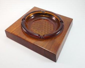 Vintage Mid Century Wood And Glass Ashtray Solid Walnut Wood Angled Slanted Sides Amber Glass Removable Ashtray Eames Era Danish Modern