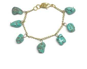 Turquoise Stone Charm Bracelet - Gold Charm Bracelet - Stone Jewelry - Gift for Her