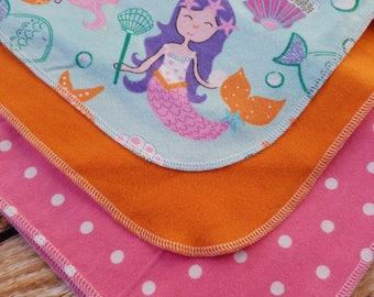 Baby Girl Flannel Mermaid Swaddle Blanket Set
