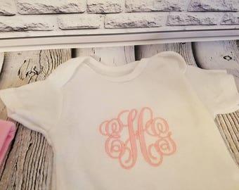 Monogrammed Onesie, Baby onesie, personalized onesie, long sleeve onesie, short sleeved onsie, baby shower