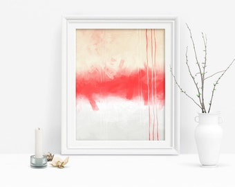 Printable Wall Art, Coral and Cream Abstract Print, Coral Modern Decor, Downloadable Art