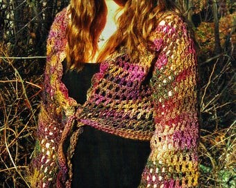 Boho Ladies Lacy Shrug Bolero Crochet Pattern, Angel Sleeves, Rustic, Folk, Autumnal, Festival, Summer, Faery, Woodland