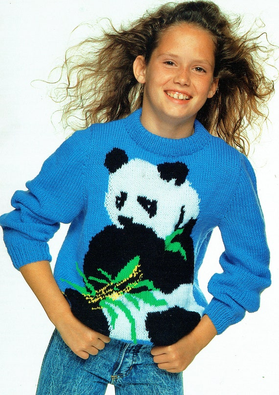 Knitting Pattern Panda Jumper : PDF Childrens PANDA Bear Jumper Knitting Pattern, Kid, Girl, Boy, Adult, Moti...