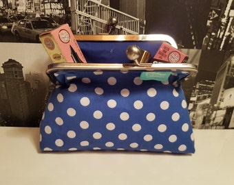 Blue Polkadot Clutch Purse Bag
