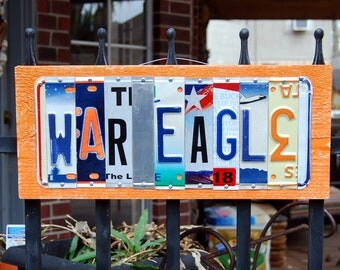 WAR EAGLE - Auburn Tigers license plate sign, graduation gift, alumni, tailgate