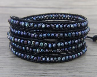Black Pearl Bracelet Bohemian Pearl leather bracelet Freshwater Pearl wrap bracelet boho bead wrap bracelet leather wrap bracelet SL-0463