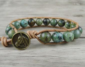 Wrap bracelet African Turquoise bracelet Beads wrap bracelet leather bracelet Boho beaded bracelet Yoga bead bracelet Beach jewelry  SL-0116