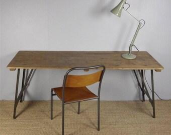 Vintage Pine Industrial Trestle Desk Dining Cafe Bar Tables