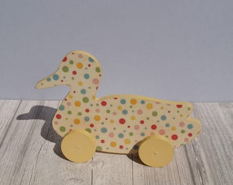 Wooden toy duck push toy on wheels toddler babies gift boy girl wood little light yellow animal baby rolling kids child's polka dots rainbow