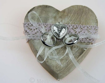 Pink vintage small wooden heart ring pillow