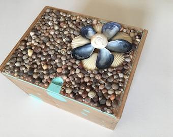 Shell Box - Decorated Cigar Box - Jewelry Box