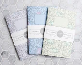 Origami Letterpress Notebooks-Set of 3