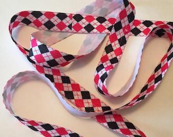 Plaid Headband Elastic/Elastic by the Yard/FOE Plaid Elastic/Baby Headband Elastic/Fold Over Plaid Elastic/Plaid Hair Ties
