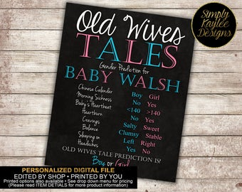 Old Wives' Tales game - Gender Reveal party game - baby shower game