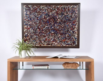 Abstract painting  / Large original painting  / Large abstract painting with iron support / Modern acrylic painting of Jackson Pollock /