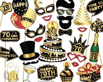 70th Birthday Photo Booth Props DIY / Seventieth Birthday Party Photobooth Props / Colorful Black & Gold / Printable PDF ▷ Instant Download