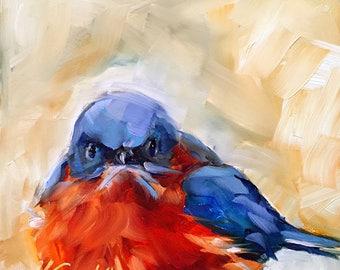 spring bluebird // bluebird painting // bluebird art // bird painting // bird art // original art // original bluebird painting // fine art