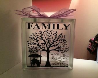 Family where life begins Glass light block  light up gift