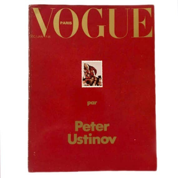 Rare collectible French Vogue December 1975 / January 1976 - guest edited by Peter Ustinov.