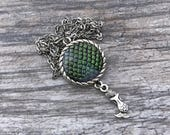 Reserved Listing for Allyson. Mermaid Scales Pendant with Mermaid Charm.