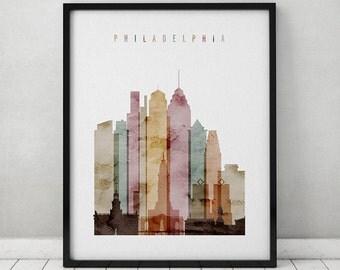Philadelphia skyline print, Philadelphia watercolor poster, Wall art, Philadelphia Pennsylvania, travel poster, city poster ArtPrintsVicky.