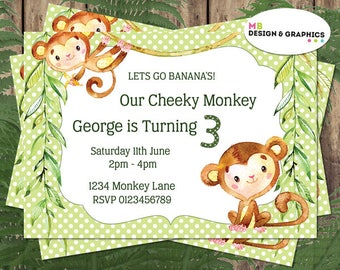 Birthday invitations, monkey birthday invitation, childs birthday invitation, monkeys, printable invitation, digital invitation, A5 invite