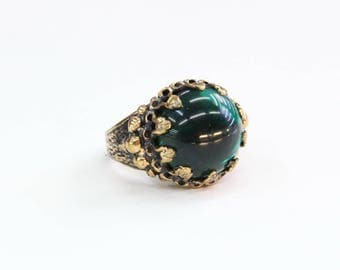 Turkish Bronze Glass Beads Ring, Beautiful Shape And Design Gift, Ring Size 8US