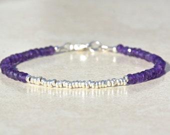 Amethyst Birthstone Bracelet, Amethyst Bracelet, February Birthstone, Silver Beads, Gemstone Bracelet, Gift for Her, Friendship Bracelet