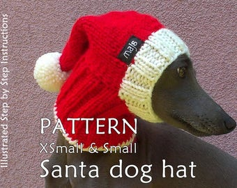 Santa Dog Hat PATTERN / Christmas Dog Hat Pattern / Greyhound Hat Pattern / DIY Knit Dog Hat / How To Knit Dog Hat