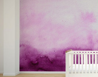 Nursery Wall Mural, Self Adhesive Fabric or Paste&Glue Wallpaper, Watercolour Home Decor
