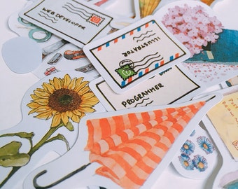 It's Mail Day! Flake Stickers (18 pcs) // Die Cut Stickers // Planners //  Laptop Stickers  // Scrapbooking Essentials
