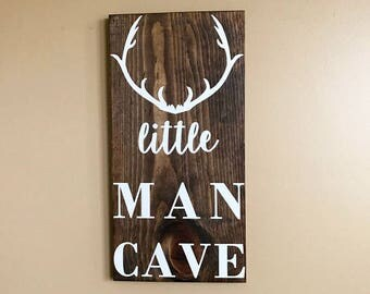 Nursery Decor | Little Man Cave | Rustic Home Decor | Deer Antlers | Baby Boy Unique Gift | Country Home | Hunting Decor | Boy Nursery Ideas