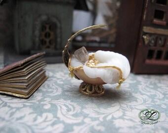 Handmade Dollhouse miniature, elven world carved miniature cradle