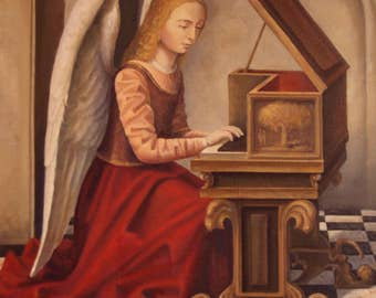 Oil Painting An Angel with the Clavier Art Painting Oil Canvas Painting