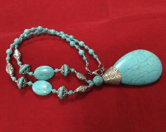 Blue Turquoise Howlite Teardrop Bead Necklace, Bohemian, BoHo Jewelry, Gift for Her, Teardrop Pendant