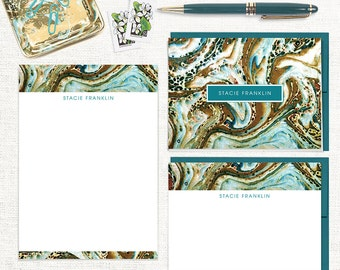 complete personalized stationery set - vintage marble paper STACIE TEAL - note cards - notepad - custom stationary - animal print