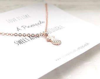 Tiny pineapple necklace, Tiny Rose Gold Pineapple Necklace, Rose Gold pineapple necklace, pineapple necklace, dainty pineapple necklace