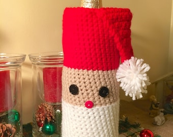 Crocheted Santa Wine Bottle Cover