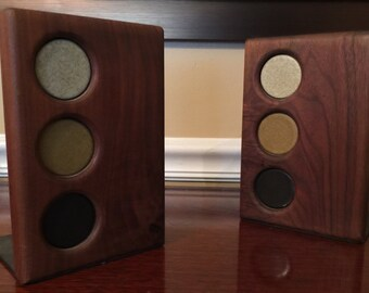 Gordon and Jane Martz for Marshall Studios Walnut and Ceramic Bookends 1950s