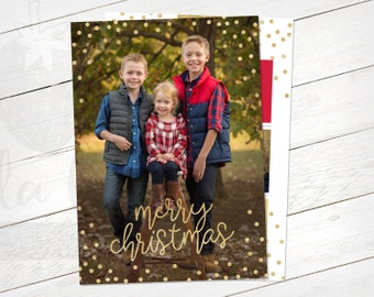 Christmas Card Year in Review - Printable Card - Red, Black, Gold Glitter
