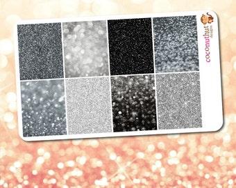 Black & Gray Neutral Glitter and Bokeh Full Box Planner Stickers (2017 Vertical Erin Condren Life Planner)
