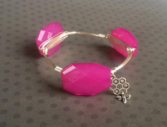 Clearance Sale, Fuchsia bangle, Pink bangle bracelet, Wire wrapped bangle, handmade bangle, bridesmaid gift, faceted nugget bangle, 3 stone