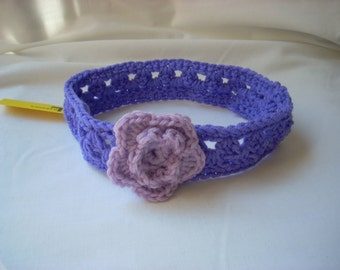 Girl's Purple Flower Headband, Child Lacy Crochet Headband, Girl's Easter Headband, Lacy Purple Headband, Two-tone Purple Hair Accessory